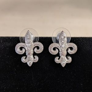 Fleur de lis Earrings, Silver and Rhinestone Posts